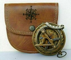 Antique Brass Maritime Stanley London Sundial Pocket Compass w Leather Case Gift $32.00