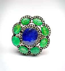 Antique Styles Ring Blue SapphireEmerald Gemstone Ring Silver Ring Diamond Ring $153.29