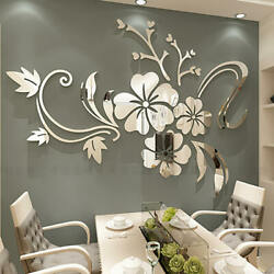 Fashion Flower 3D Mirror Wall Stickers Removable Decal Art Mural Home Decor $22.49