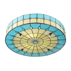 Tiffany Flush Mount Ceiling Light Round Stained Glass Drum Shade Chandelier Lamp $94.99