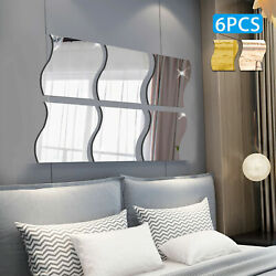 6PC 3D Mirror Wall Sticker Waves Shape Self adhesive Home Bedroom Wall Decor US $7.99