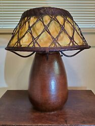 Arts amp; Crafts Hammered Copper Table Lamp Wicker Shade Stickley amp; Van Erp Style $1950.00