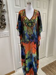Lucky amp; Coco Vibrant Beaded Sequin Kaftan Long Cover Up Maxi Dress L NWOT $69.50