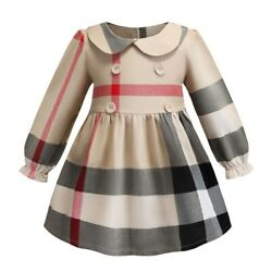 Inspired Designer Girls Dress Plaid Check Print Bow Grey Button
