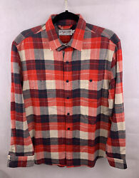 NWOT Guideboat Co Red Feather Flannels Button Shirt Plaid Red Men#x27;s Sz Medium $44.00