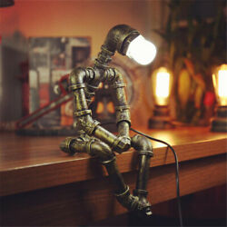 Robot Design Creative Water Pipe Table Lamp Iron Rustic Desk Light for Bedroom $59.99
