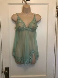 Frederick#x27;s of Hollywood Chemise Nightgown Blue w Lace L Large $15.99