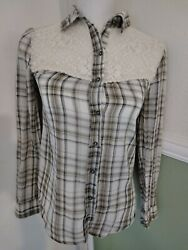 Free People Long Sleeve Plaid Button Front Lace Boho Blouse Top Shirt XS $8.40