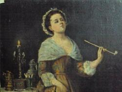 VICTORIAN OIL WOMAN SMOKING A LONG CLAY PIPE SHE LOOKS VERY BUZZED NICE DETAIL $150.00