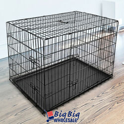 42quot; Large Portable Folding Black Dog Crate Pet Cage Pen Kennel 2 Doors w Tray $58.99
