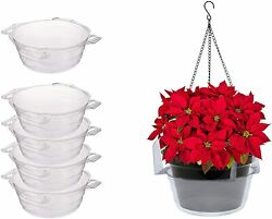 NEW Plastics Plant Hanging Basket Pans 5 Pack Clear Round $26.99