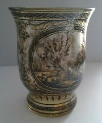 GLASS Swedish Biedermeier Antique Glass Vase with Ornamental Hand Painted Design $135.28