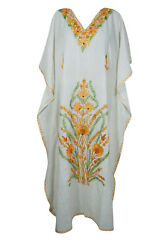 Women#x27;s White Maxi Caftan Dress Floral Embellished Beach Cover Up Long Dress 2XL $37.89