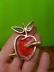 Vintage Mr. We Apple with Worm Gold Tone Stained Glass Pin Brooch Teacher Gift $22.95