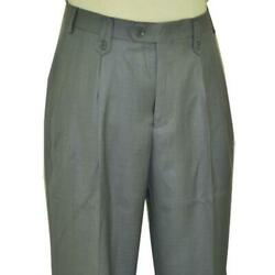 Pronti Men#x27;s Silver Grey Wide Leg Slacks With Custom Button Tabs Flapped Pockets $44.99
