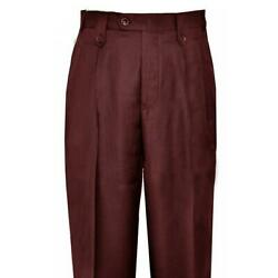 Pronti Men#x27;s Burgundy Wide Leg Slacks With Custom Button Tabs Flapped Pockets $44.99