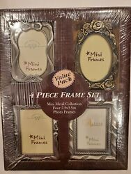 Set of 4 Metal Mini Frames by The Weston Gallery 2.5x3.5 inch NEW $19.95