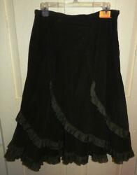 TANTRUMS LONG BOHO PHEASANT COURDOROY Skirt size L TIERED BROWN $10.00
