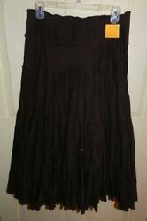 MOA MOA Ladies LONG BOHO PHEASANT Skirt size M TIERED BROWN $10.00