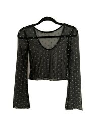 Urban Outfitters Black Sheer Star Long Sleeve Top XS $16.00