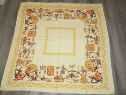 VTG Kitchen themed tablecloth 48x48 inches. Hemmed on two side. Ex. Condition $15.99