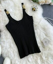 European Designer Style Black Knitting Tank Top With Medusa Buckles One Size $24.99