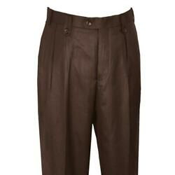 Pronti Chocolate Brown Wide Leg Slacks With Custom Button Tabs Flapped Pockets $44.99