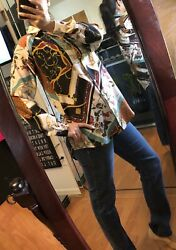 Zara Designer Top Trendy Semi Formal Long Sleeve Shirt Size Small Versace Vibe $59.99