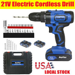 21V Cordless Drill Driver 45Nm Compact Electric Drill Cordless Set 2 x Batteries $63.10