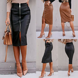 Women#x27;s Front Zipper Faux Leather Midi Pencil Skirt Office Casual Bodycon Skirts $18.89
