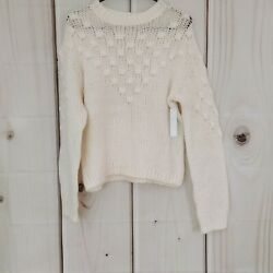 NWT Abound Nordstrom XS Pullover Long Sleeve Ivory Chunky Knit Sweater Warm $15.99