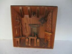 VINTAGE WOODEN 3D DIORAMA FOLK ART WALL HANGING RUSTIC ROOM w FIREPLACE TABLE $9.99
