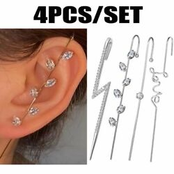 4pcs set Silver Ear Wrap Crawler Crystal Cuff Ear Hook Earrings Wedding Jewelry $4.61