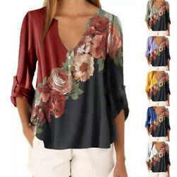 Womens Boho Floral V Neck Loose Shirts Ladies Casual Long Sleeve Blouse Tee Tops $13.59