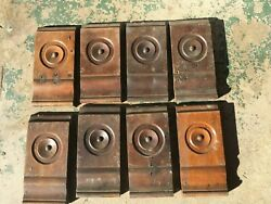VINTAGE VICTORIAN ANTIQUE BULLSEYE WOOD PLINTH ROSETTE DOOR WINDOW TRIM $12.00