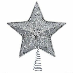 Silver 5 Point Star Christmas Tree Topper Decoration 13.5 Inch S4341 New $38.88