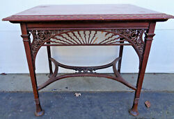 FANCY MAHOGANY AESTHETIC ERA VICTORIAN TABLE WITH SCROLL CUT OUTS...AS IS... $350.00