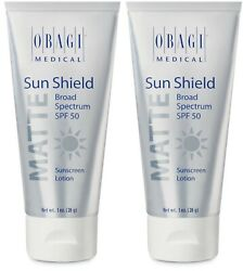 2 pack Obagi Sun Shield Matte SPF 50 Sunscreen Lotion 1 oz. exp 9 21 $21.99