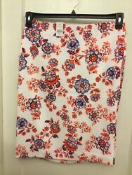 Ann Taylor Floral Pencil Skirt long slit side fully lined NWT $24.99