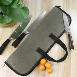 4 Slots Chef Knife Bag Canvas Kitchen Cooking Utensils Storage Carry Case $19.65