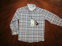 Ike Behar Designer Boys Check Formal Shirt Size 5 Dress Christmas Holiday Plaid