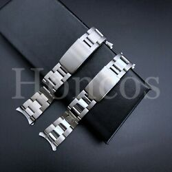 Curved Solid Links Oyster Replacement Bracelet Watch Band Strap 19 20 21 MM $17.95