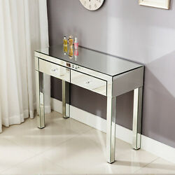 Dressing Table Mirrored Console Table Vanity Makeup Computer Desk Silver $180.49