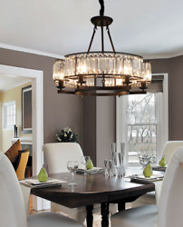 6 Lights K9 Crystal Chandelier Flush Mount Ceiling Lighting Modern Pendant Lamp $138.59