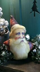 PRIMITIVE ANTIQUE VINTAGE VICTORIAN STYLE CHRISTMAS 3D FABRIC SANTA PILLOW DOLL $29.50