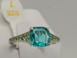 .925 STERLING SILVER Ring Bomb Party Size 7 RBP2129 Aqua amp; Emerald New w tagamp;bag $26.95