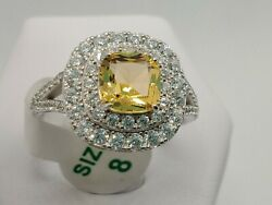 .925 STERLING SILVER Ring Bomb Party Size 8 RBP2747 Yellow Topaz w tag amp; bag $26.95