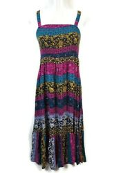 Lane Bryant Dress Multi Color Shirred Adjustable Straps Maxi Women#x27;s Size 14 16 $18.00