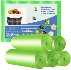 Aocuxze Trash Bags Biodegradable 4 Gallon Small Compostable Bags Recycling D $14.20