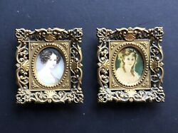 PAIR Vintage Small Framed *GOLD Antique Plastic Frames Wall Convex ART Hollywood $19.95